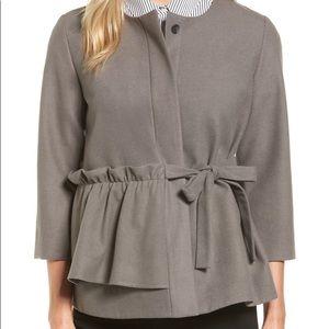 Halogen Gray Ruffle Belted Jacket